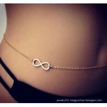 Gold Infinity charm Belly chain beach body jewelry bikini waist chain