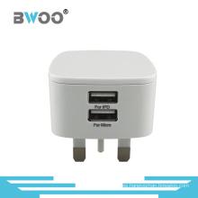 Adaptador de pared BRITÁNICO del cargador USB de la Venta caliente con USB dual