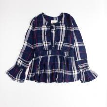 Women's Plaid Check Long Horn Sleeve Dress Shirt
