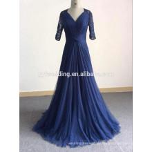 Neue Designs V-Ausschnitt Dunkelblau A-Linie bodenlangen Tüll Rock gefaltete lange Ärmel muslimischen Spitze Abendkleid für Frauen GYFZS01