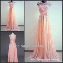 Lace Applique Hand-made Wedding Amazing Light Coral A-Line Round Neckline Sweep Train Peach Color Long Bridesmaid Dresses 2014