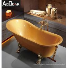 Aokeliya golden freestanding antiqu heated soaking clawfoot tub feet bath tubs