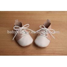 Cordón hasta suela de goma zapatos de bebé de oxford de piel de ante con encaje