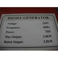 3kw Air-Cooled Diesel Generator Single Phase