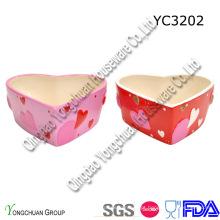 Cerâmica em forma de coração conjunto de bacia de doces