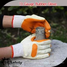 SRSAFETY 10G трикотажные поликлиновые ламинированные резиновые перчатки для рук