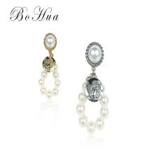 Neue Mode Weiß Grau Perle Runde Ohrringe Lady Pearl Ohrringe