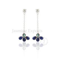Sleek Multi Gemstone Designer Sterling Silver Dangle Earring, Handmade Chain Dangle Earrings
