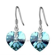 Moda mar azul cristal en forma de corazón pendientes para las mujeres SE-001D