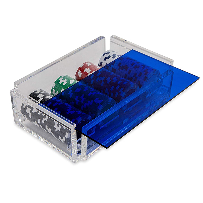 Acrylic Poker Chip Holder With Lid Blue