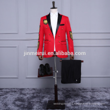 2017 Korea Style Red Men Suits Formal Evening Dresses Tuxeds Prom Gowns