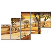 Arte africano de la pintura al óleo del paisaje de Egipto en la lona para la decoración casera (AR-131)