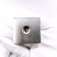 Ímã de neodímio poderoso escareado retangular 40x20mm
