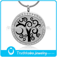 Tree of life pendant diffuser necklace stainless steel aromatherapy locket necklace