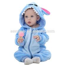 Suave bebé franela mameluco Animal Onesie traje de trajes de pijamas, ropa de dormir, lindo paño azul, bebé con capucha toalla