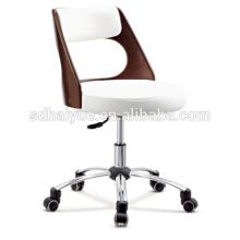 Führende Büromöbel aus weißem Leder mit Top-Grain-Struktur und Chromgestell