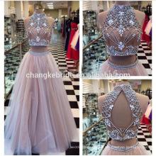 El vestido de noche moldeado por encargo de dos piezas rebordeó el vestido atractivo largo Backless 2016 del baile de fin de curso