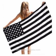 Toallas de playa con bandera americana extra suave 100% algodón