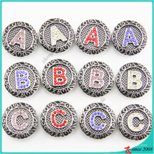 Botões de pressão de alfabeto de venda quente para jóias de pulseira de couro
