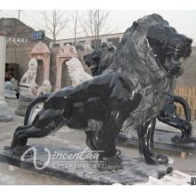 heißer verkaufender Steinskulptur-europäischer Artschwarzmarmelöwe für Verkauf