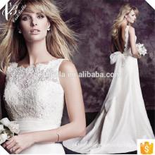 Bare Back Lace Andar Comprimento Custom Make Long Formal Bridal Wedding Dress