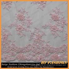 Hellrosa gestickte Spitze Stoff mit Perlen und Pailletten Brautkleider, Dekorationen, Perlen Lace Fabric 52 '' No.CA256B-1