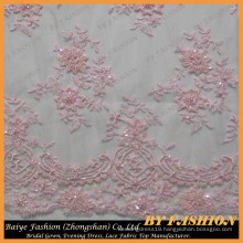 Light Pink Embroidered Lace Fabric with Beads and Sequins Wedding Dresses, Decorations, Beaded Lace Fabric 52'' No.CA256B-1
