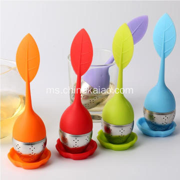 Orange Red Green Silikon SS Infuser Green Tea Strainer Bag