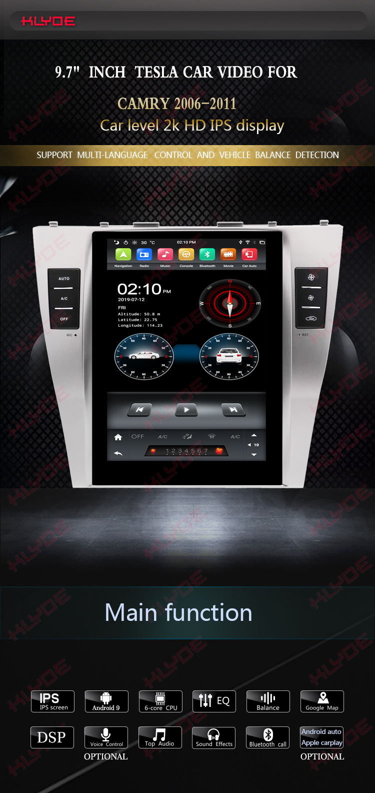 tesla car audio video player for Toyota Camry 2007