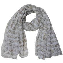 Леди мода полиэстер вуаль Музыкальная нота печатных шарф (YKY4216)
