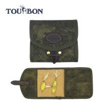 2016 Tourbon новый дизайн прочный винтажный зеленый Рыбалка летать бумажник небольшой мешок Холщовый Чехол для хранения сумки для рыбалки оптом
