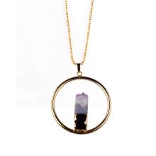 Gold Plated Amethyst Pendant Necklace Charm Pendulum
