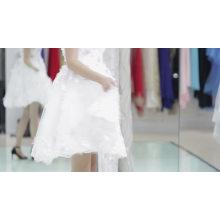 2017 aliexpress горячие продаем белый цвет Западного вечер ужин платье короткий простой дизайн спинки из бисера вечернее платье для пожилых людей