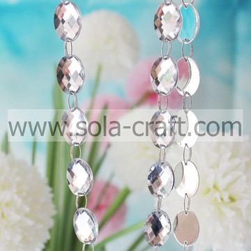 Acrylic Crystal Mirror Faceted Oval Round Bead Garland