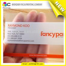 Cartão de visita de plástico transparente de alta qualidade de garantia comercial