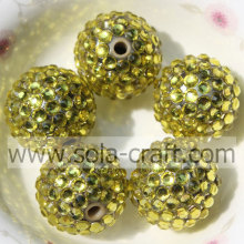 20*22MM Solid Gold Resin Rhinestone Beads For Chunky Bracelet Making