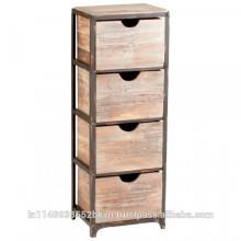 Cabinet en bois à 4 tiroirs Vintage Look
