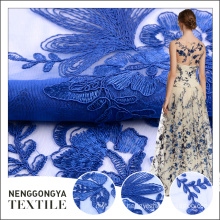 Cheap price elegant blue flat korean lace embroidered fabric