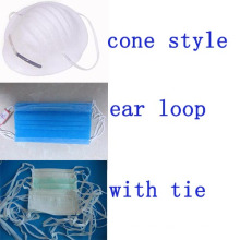 Surgical Face Mask Stock Supplier Ear Loop Tied Cone Types Kxt-FM18