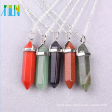 natural rough stone beads Bullet Head / Point shape Gold Plated Gem stone Pendant Charms Beads For Jewelry Making