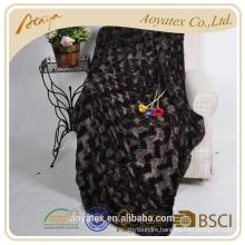 2018 new design bottom small wave brushed fake fur blanket