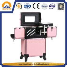 Caja de almacenamiento de maquillaje con carrito de aluminio con espejo