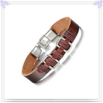 Jóias de moda pulseira de couro de aço inoxidável pulseira (lb377)