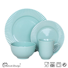 16PCS Embossed Ceramic Stoneware Dinner Set High Quality