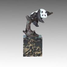 Tier Statue Panda Klettern Baum Bronze Skulptur Tpal-302