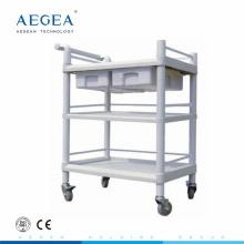 AG-UTB07 barato plástico médico hospital móvil utilidad carro con ruedas