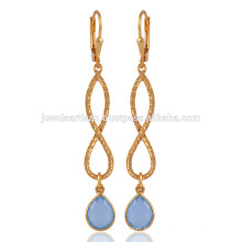 18K Gold Plated Blue Onyx Infinity Solid Silver Earring