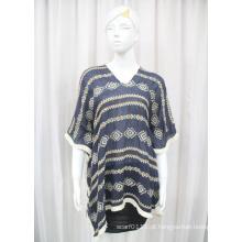 Senhora moda algodão poliéster voile malha camisa de bordado (yky2228)