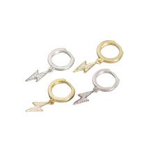 Wholesale hot selling zircon fashion lightning  pendant trend punk hoop earrings