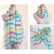 Леди полиэстер шифон Шелковый шарф с полосками печать (YKY1004)